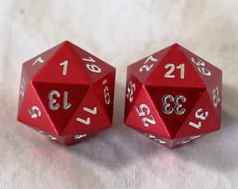Zucati Elemetal Aluminum Red Randomizer D20's (Set of 2)