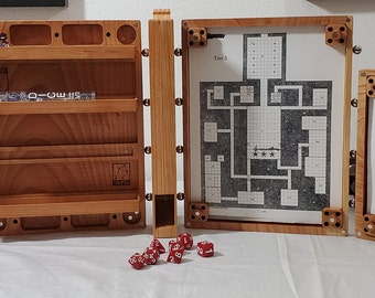 Zucati Dungeon Master Screen - Master Bundle - Comes with Everything Seen - Cherry Hardwood