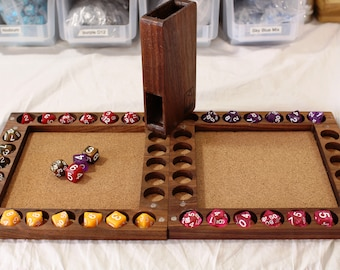Zucati Dice Base™: Dice Base 2 Deluxe - Dice Tray - Dice Vault - Dice Tower - Walnut