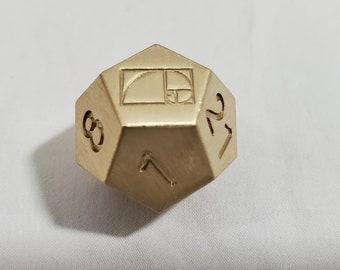 Zucati Dice EleMetal™ Solid Brass Fibonacci Golden Spiral Die