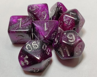 Perfect Plastic™ Celestial Polyhedral Dice Sets (Prototype) (Polished with Silver Ink Ink)