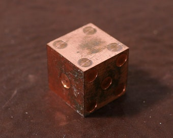 "Copper Prototype Casio Die 1"" Cube with Pips  - Single Die"