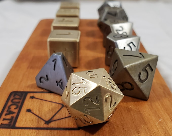 Featured listing image: Zucati Dice EleMetal™ Custom 11-Piece Polyhedral set in Cast Iron and Brass - Steam Punk 1/4 Cast Iron with Brass D6