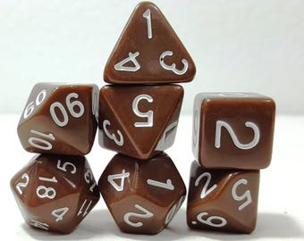 Perfect Plastic Dice - Gloss Polish with Ink - Brown / White Ink