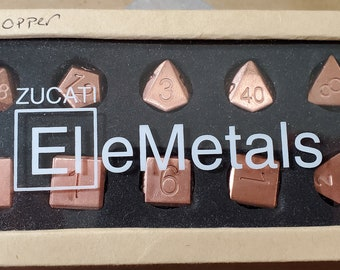 Zucati Elemetals Pure 99.99% Copper 10pc Polyhedral Dice Set