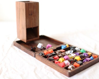 Zucati FLUME 2 Dice Tower, Rolling Tray, and Dice Organizer - Black Walnut