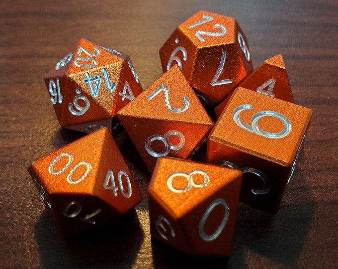 Featured listing image: 10mm Polyhedral Aluminum Anodized (Deception Orange) Dice Set of 7 - Zucati Dice EleMetals Mini