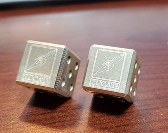 Zucati Rocket Logo Sterling Silver Dice (Pair)