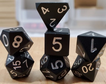 Zucati Dice EleMetal™ Aluminum Polyhedral Set of 7 - Knight Black