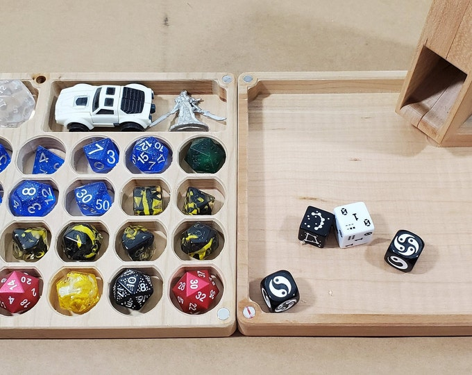 Featured listing image: Zucati Flume 2: Dice - Dice tower - Dice Organizer - Rolling tray - Cherry Hardwood