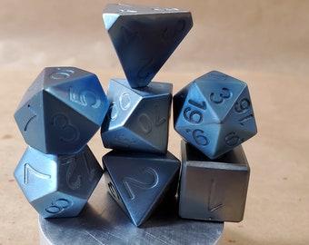 Zucati Elemetals Pure Niobium 7pc Polyhedral Dice Set