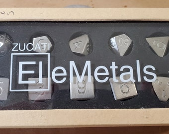 Zucati Elemetals Tungsten 10pc Polyhedral Dice Set