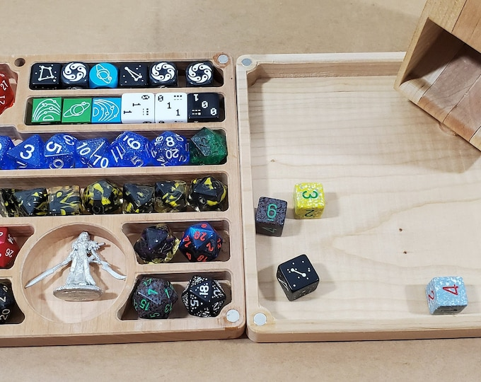 Featured listing image: Zucati Flume 2: Figure - Dice tower - Dice Organizer - Rolling tray - Cherry Hardwood