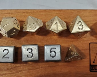 Zucati Dice EleMetal™ Custom 11-Piece Polyhedral set in Cast Iron and Brass - Steam Punk 1/3 Brass with Cast Iron D6