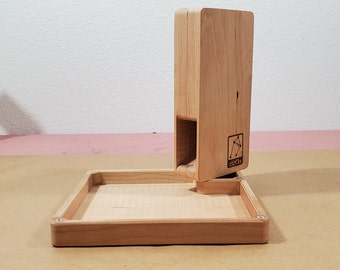 Zucati Flume 2: Compact - Dice tower and rolling tray - Cherry Hardwood