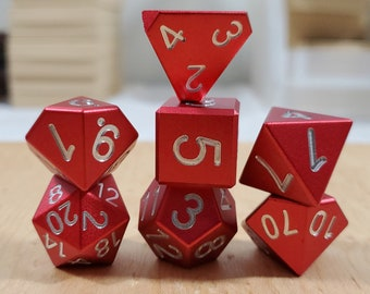 Zucati Dice EleMetal™ Aluminum Polyhedral Set of 7 - Flame Red