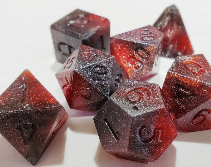 Featured listing image: Perfect Plastic™ Celestial Polyhedral Dice Set - Red Dwarf Red - Raw