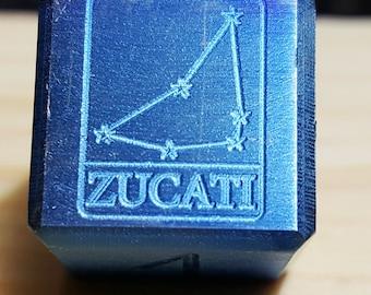 Zucati Capricorn Constellation Logo Die -Niobium - Engraved - Numbers