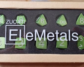 Zucati Dice EleMetal™ Aluminum Polyhedral Set of 10 - Grass Green