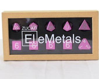 Zucati Dice EleMetal™ Aluminum Polyhedral Set of 10 - Petal Pink