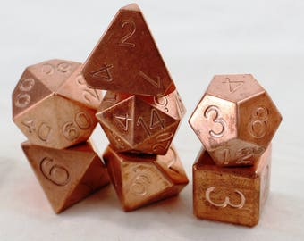 Zucati EleMetal Dice: Copper Polyhedral Set of 7