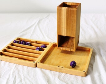 Zucati FLUME 2 Dice Tower, Rolling Tray, and Dice Organizer - Poplar
