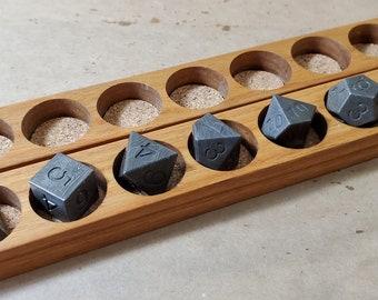 Zucati Elemetals Steel Damascus Forged 7pc Polyhedral Dice Set  / Hardwood Case