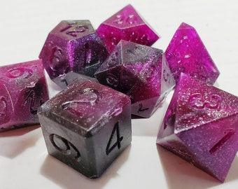 Perfect Plastic™ Celestial Polyhedral Dice Set - Nebula Purple - Raw