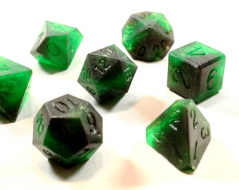 Perfect Plastic™ Celestial Polyhedral Dice Sets (Space Dust Green) (Raw)