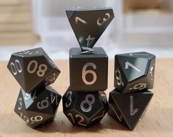 Zucati Dice EleMetal™ Aluminum Polyhedral Set of 7 - Thundercloud Grey