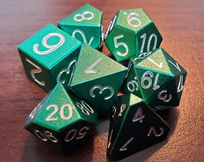 Featured listing image: 10mm Polyhedral Aluminum Anodized (Forest Green) Dice Set of 7 - Zucati Dice EleMetals Mini