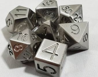 Zucati Dice EleMetal™ Stainless steel 14mm Mini Polyhedral Set of 7