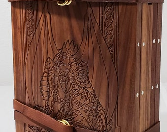 Zucati Dungeon Master Screen - Fantasy Women Engraved - Black Walnut with Purple Heart Accessories
