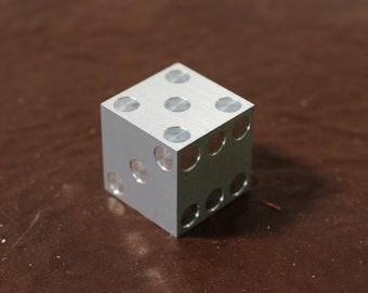 "Aluminum Prototype Casio Die 1"" Cube with Pips   - Single Die"