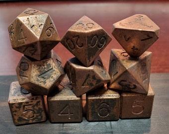 Zucati EleMetal ™ Solid Copper (99.99%) Polyhedral Dice and Exotic Gabon Ebony Case