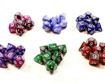 Perfect Plastic™ Celestial Polyhedral Dice Sets (Prototype) (Polished with White Ink)