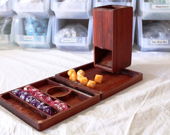 Zucati FLUME 2 Dice Tower, Rolling Tray, and Dice Organizer - Flaming Paduk Wood