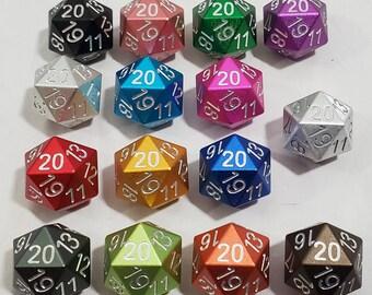 Zucati Dice EleMetal™ Spindown Aluminum D20 Colors 1 - 7