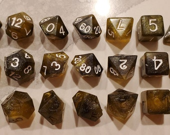 Prototype - Perfect Plastic™ Celestial Polyhedral Dice - Yellow Sun - 3 Types