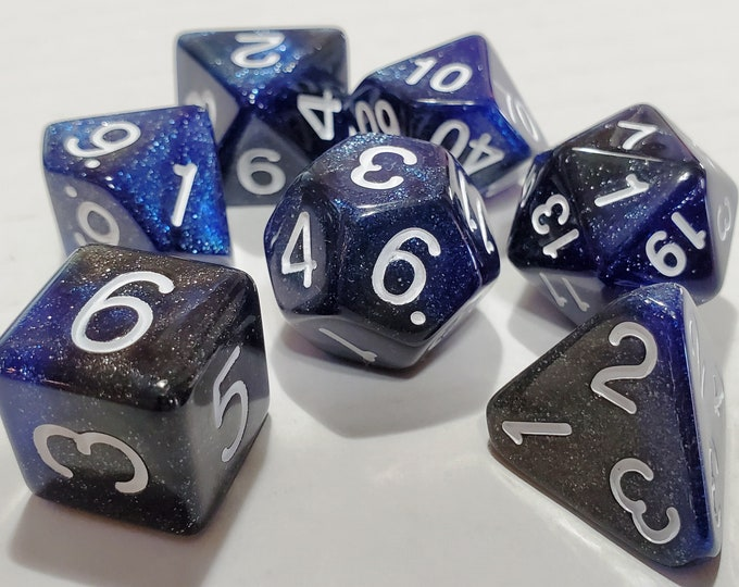 Featured listing image: Perfect Plastic™ Celestial Polyhedral Dice Set - Deep Space Blue - Polished