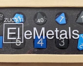 Zucati Dice EleMetal™ Aluminum Polyhedral Set of 10 - Black / Blue- 50/50