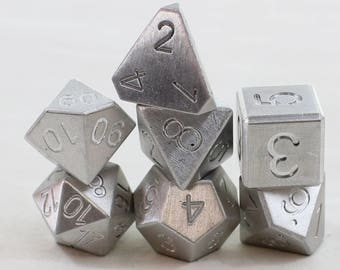 Zucati Dice EleMetal™ - 7pc set  - Natural Silver (S)