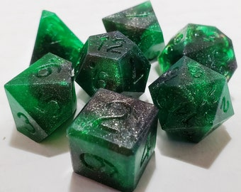 Perfect Plastic™ Celestial Polyhedral Dice Set - Space Dust Green - Raw