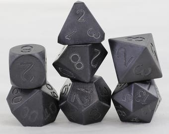 Zucati Dice: Zirconium - Blackened  Polyhedral Set - Round D6
