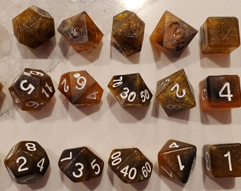 Prototype - Perfect Plastic™ Celestial Polyhedral Dice - Galactic Amber - 3 Types