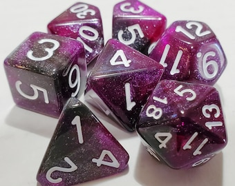 Perfect Plastic™ Celestial Polyhedral Dice Set - Nebula Purple - Polished