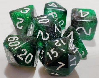 Perfect Plastic™ Celestial Polyhedral Dice Set - Space Dust Green - Polished