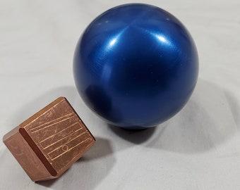 Zucati Dice EleMetal™ Pale Blue Dot Sphere and Die - Copper or Nickel Dice