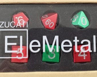 Zucati Dice EleMetal™ Aluminum Polyhedral Set of 10 - Red / Green - 50/50