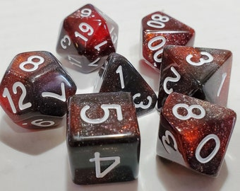 Perfect Plastic™ Celestial Polyhedral Dice Set - Red Dwarf - Polished